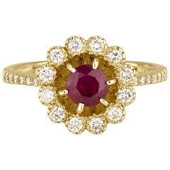 Shlomit Rogel - Ruby and Diamond Ring in 14 Karat Yellow Gold