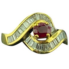 Ruby and Diamond Ring in 14 Karat Yellow Gold