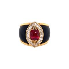 Ruby and Diamond Ring in 18 Karat Yellow Gold by Swiss Jeweller Péclard
