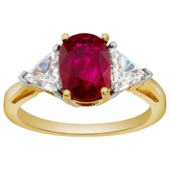 Ruby and Diamond Ring in Platinum and 18 Karat Yellow Gold