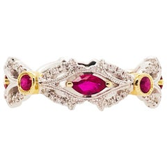 Ruby and Diamond Ring, July Birthstone Two-Tone Band White and Yellow Gold Ring
