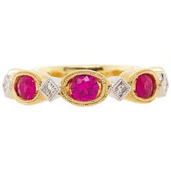 Ruby and Diamond Ring, July Birthstone Two-Tone Diamond Band White Yellow Gold
