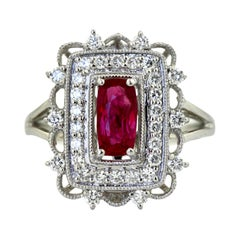 Ruby and Diamond Ring Mounted in Platinum