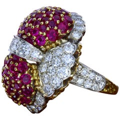 Ruby and Diamond Ring of Bombé Design