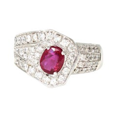 Ruby and Diamond Ring Set in 18k White Gold