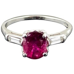 Ruby and Diamond Ring Set in Platinum