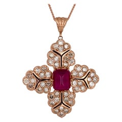 Ruby and Diamond Rose Gold Enamel Pendant