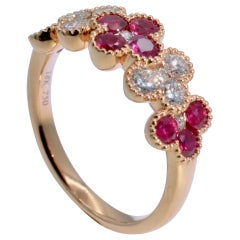 Ruby and Diamond Rose Gold Quatrefoil Style Ring