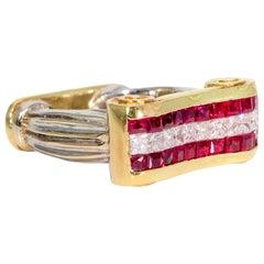 Ruby and Diamond Scroll Style 18 Karat Gold Ring