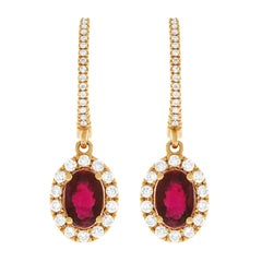 Ruby and Diamond Set Gold Drop Earrings