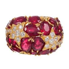 "Ruby and Diamond ""Shooting Star"" Motif Dome Ring"