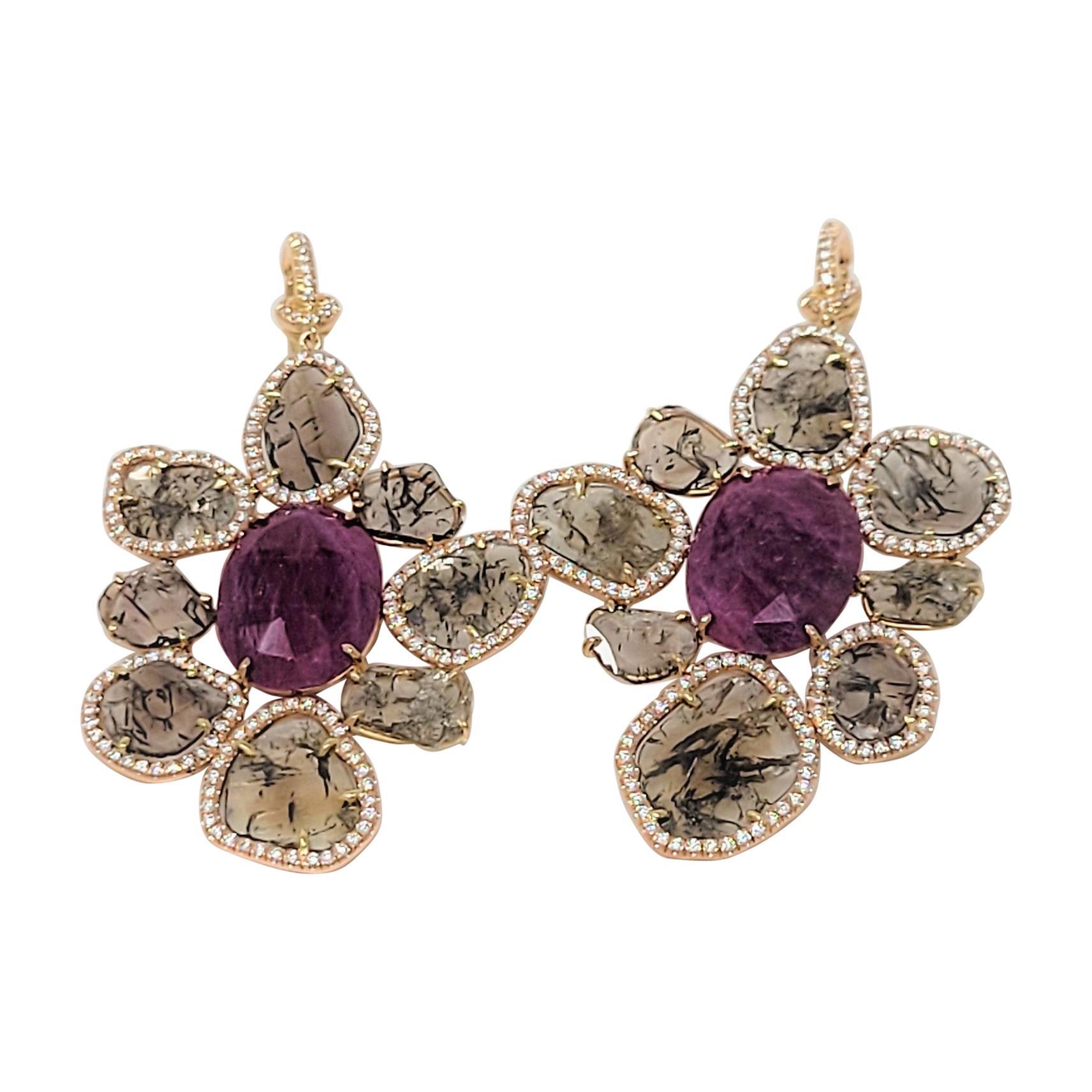 Ruby and Diamond Slice Earrings