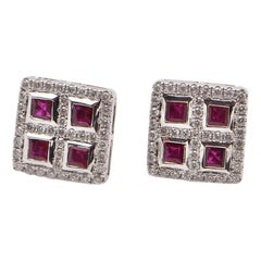 Ruby and Diamond Square Stud Earrings in 18 Carat White Gold