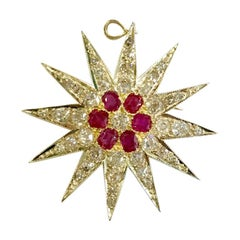 18 Carat White Gold Ruby and Diamond Star Pendant or Brooch