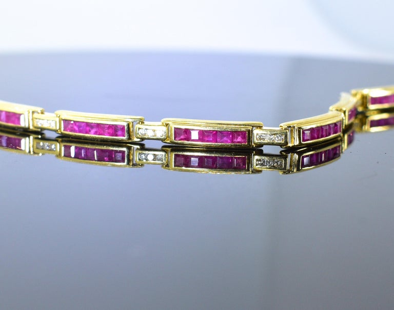 Contemporary Ruby and Diamond Straight-Line Bracelet For Sale