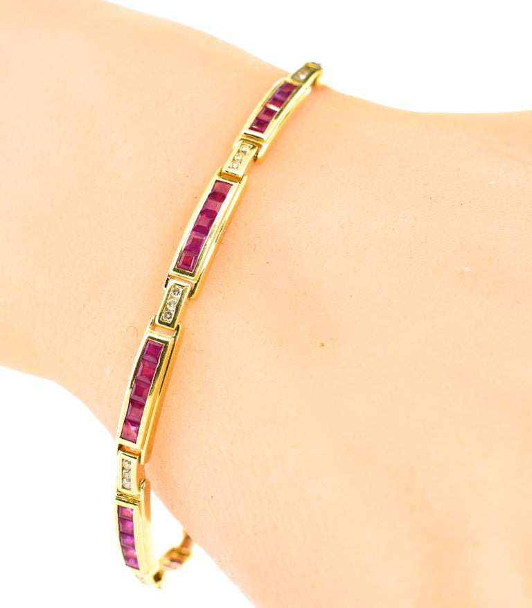 Women's or Men's Ruby and Diamond Straight-Line Bracelet For Sale