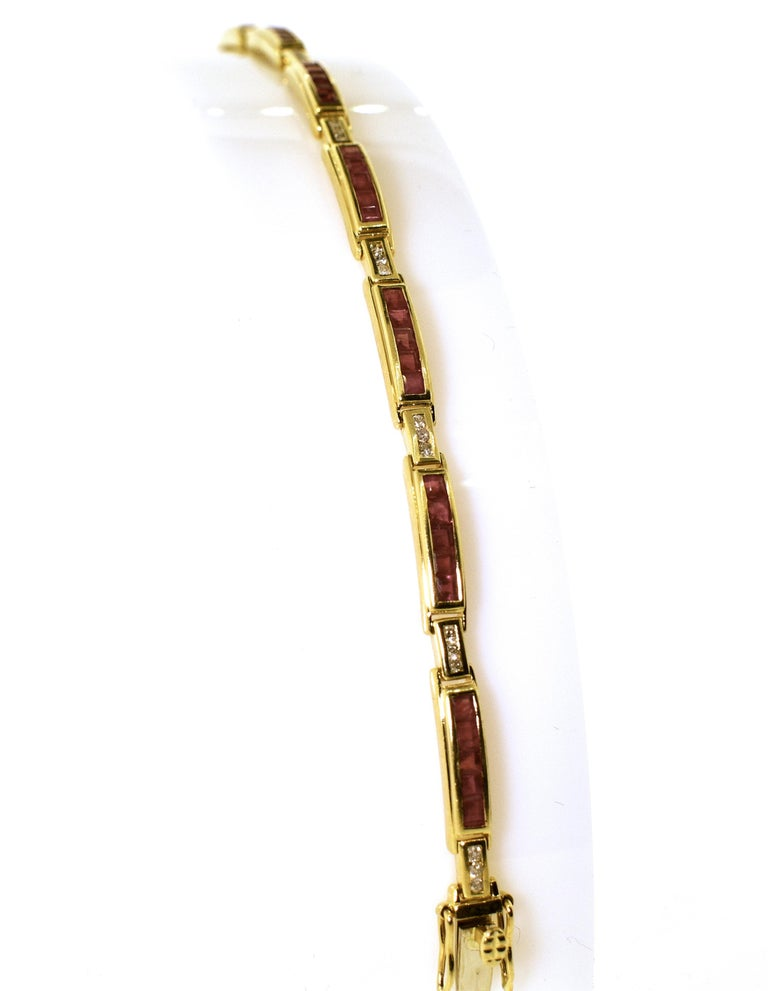 Ruby and Diamond Straight-Line Bracelet For Sale 2