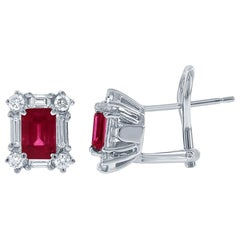 Ruby and Diamond Stud Earrings, 2.40 Carat of Ruby and 1.50ct in 18kt White Gold