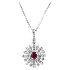 Ruby and Diamond Sunburst Pendant Necklace