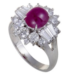 Ruby and Diamond Tapered Platinum Cocktail Ring