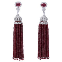 Ruby and Diamond Tassel Earrings