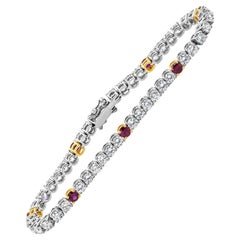 Roman Malakov Ruby and Diamond Tennis Bracelet