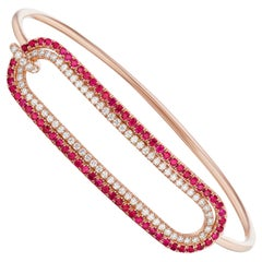 Ruby and Diamond Tension Bracelet in 18 Karat Rose Gold
