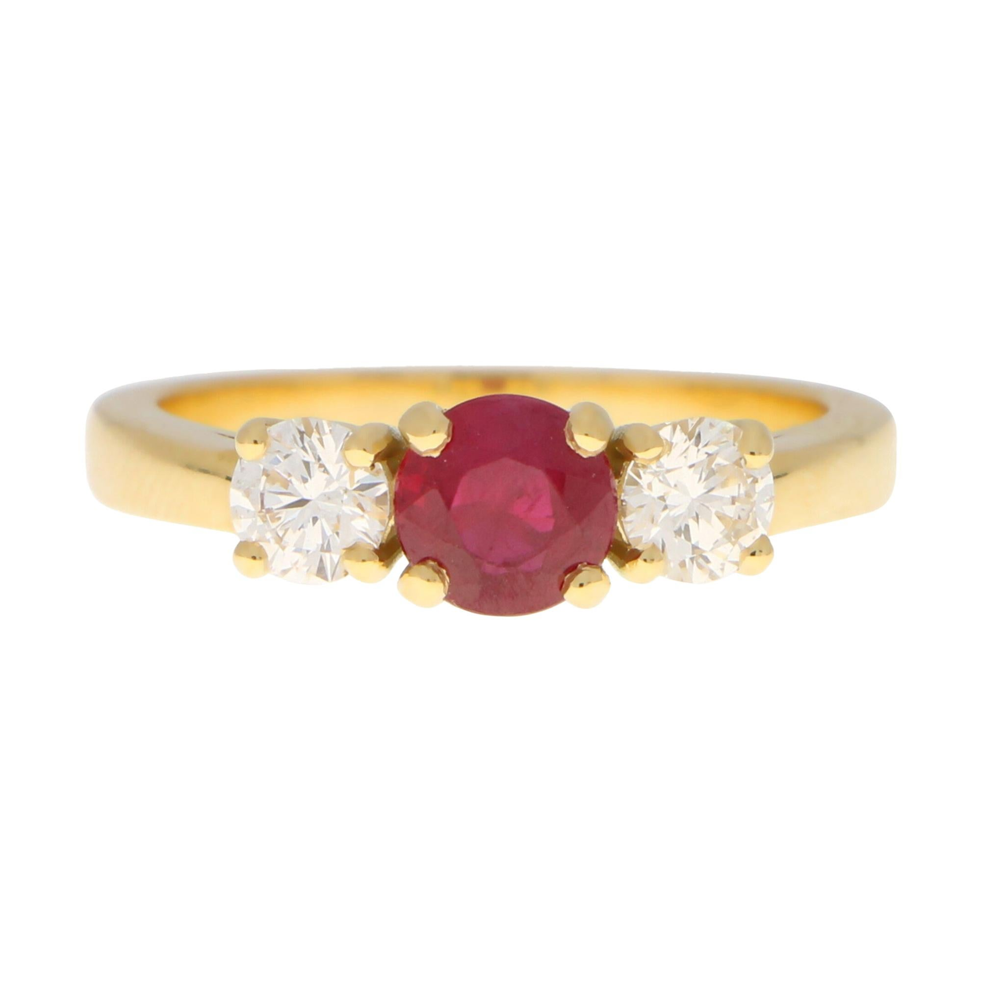 Ruby and Diamond Three Stone Engagement Ring Set in 18k Yellow Gold