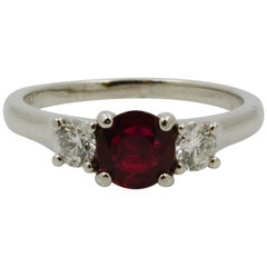 Ruby and Diamond Three-Stone Platinum Ring