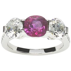 Ruby and Diamond Three-Stone Ring