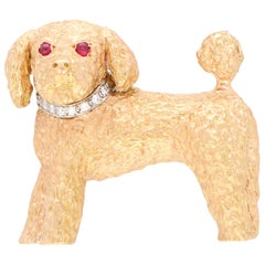 Ruby and Diamond Toy Poodle Dog Pin Brooch Set in 18 Karat Rose Gold