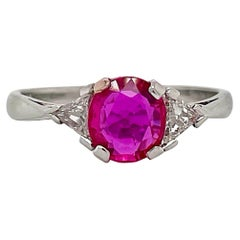 Ruby and Diamond Triangle Ring