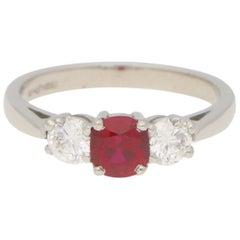 Ruby and Diamond Trilogy Engagement Ring Set in 18 Karat White Gold