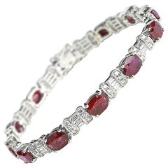 Ruby and Diamond White Gold Bracelet
