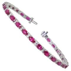 Ruby and Diamond White Gold Contemporary Bracelet
