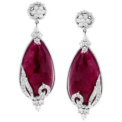 Ruby and Diamond White Gold Drop Earrings Stambolian