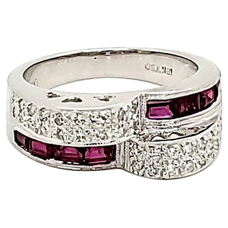 Ruby and Diamond White Gold Engagement Ring