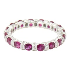 Ruby and Diamond White Gold Eternity Band Ring
