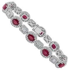 Roman Malakov Ruby and Diamond White Gold Halo Bracelet
