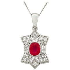 Ruby and Diamond White Gold Pendant