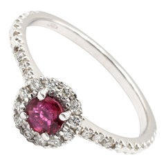 Ruby and Diamond White Gold Ring Made in Italy