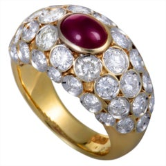 Ruby and Diamond Yellow and White Gold Band Ring
