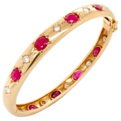 Ruby and Diamond Yellow Gold Bangle