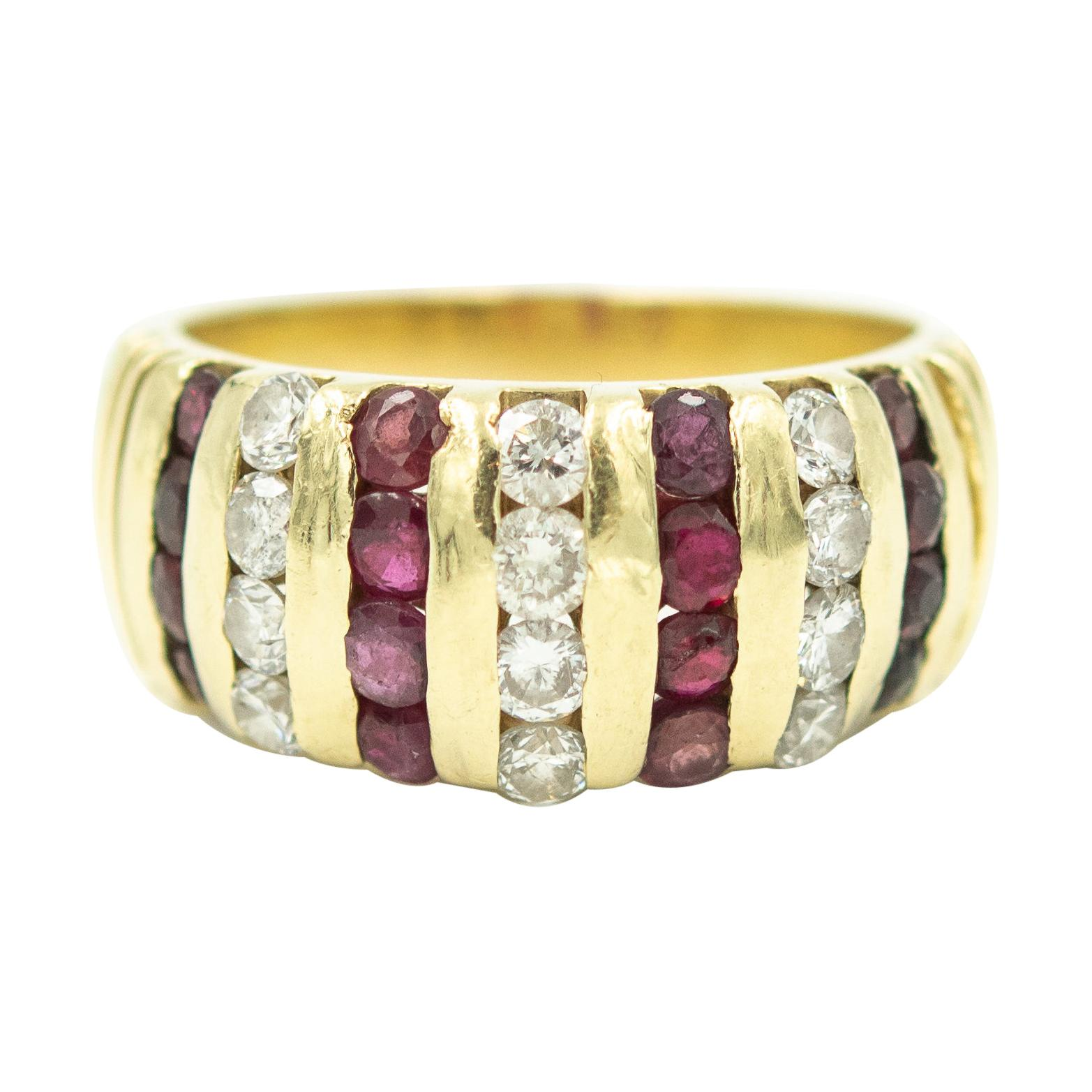 Ruby and Diamond Yellow Gold Dome Ring