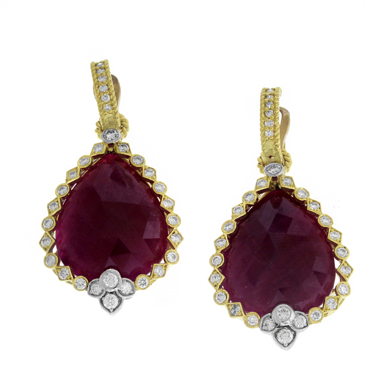 Stambolian Sliced Ruby Diamond 18 Karat Yellow Gold Drop Dangle Earrings