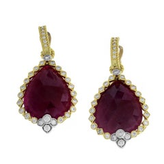 Ruby and Diamond Yellow Gold Drop Earrings Stambolian