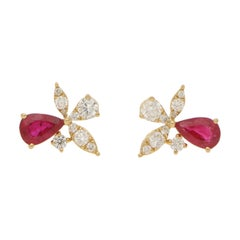Ruby and Diamond Yellow Gold Orchid Stud Earrings