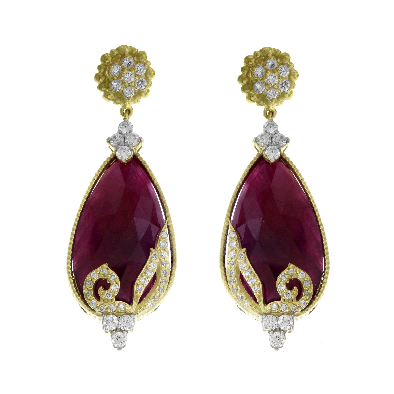Ruby and Diamond Yellow Gold Pear Shape Drop Earrings Stambolian