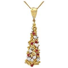 Ruby and Diamond Yellow Gold Pendant