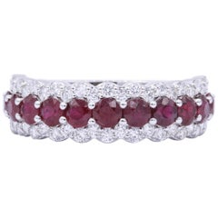 Three Row Ruby Diamond Wedding Band 1.70 Carats 18K